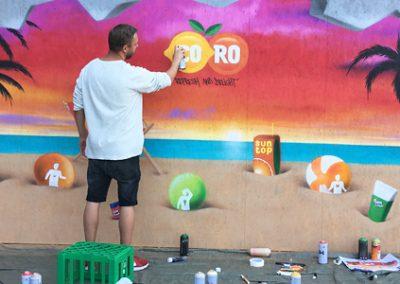 Vægmaleri med strand tema
