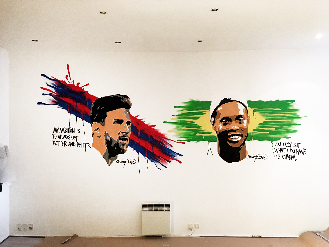 fodbold vægmaleri