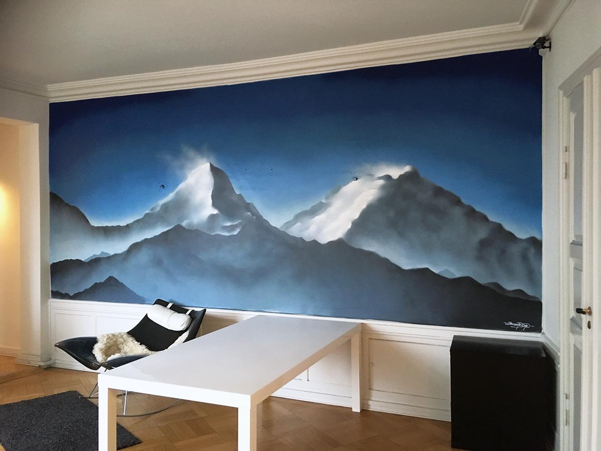 vægmaleri bjerge