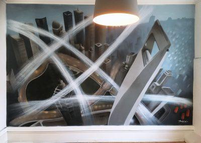 Vægmaleri kontor