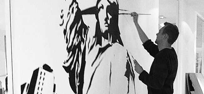 vægmaleri frihedsgudinde