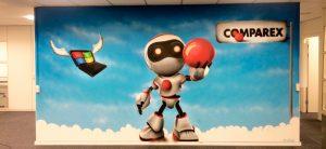 vægmaleri af robot