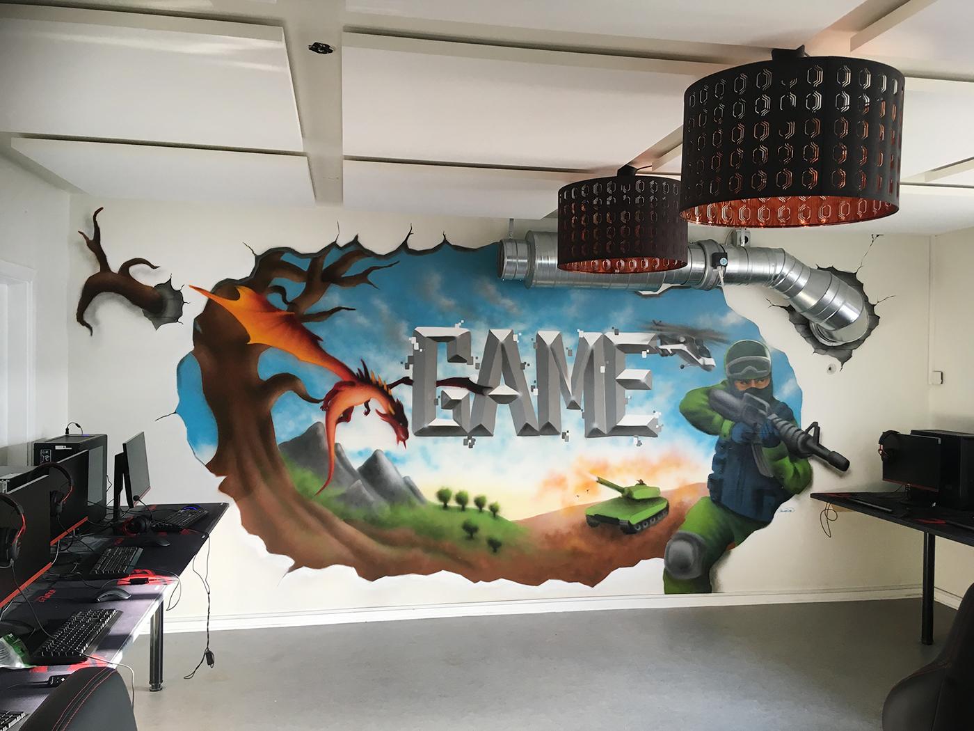 vægmaleri i gaming rum