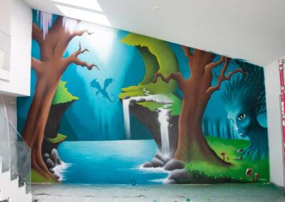 Fantasy vægmaleri i privat villa