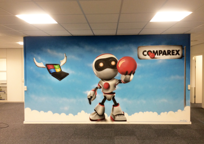 Vægmaleri med robot tema