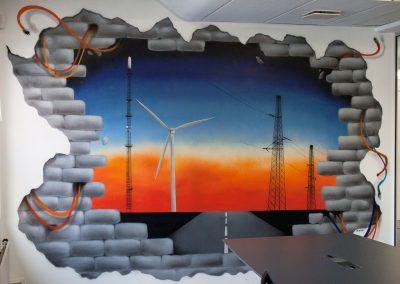 3d vægmaleri med ledninger