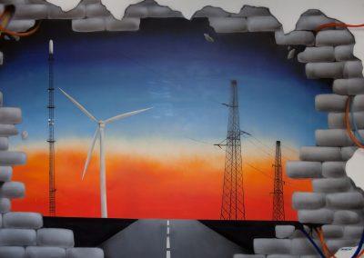vægmaleri med ledninger
